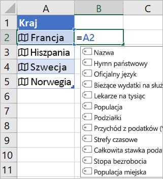 """Komórka A2 zawierająca pozycję """"France""""; komórka B2 zawierająca pozycję """"= A2."""" i menu Autouzupełniania formuł z polami z połączonego rekordu"""
