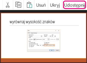 Polecenie Udostępnij w aplikacji PowerPoint dla systemu Android