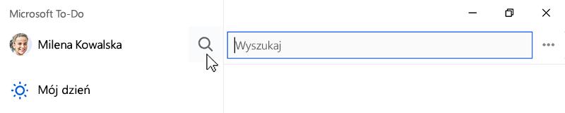 Zrzut ekranu przedstawiający otwieranie zaznaczoną ikoną wyszukiwania i pole wyszukiwania