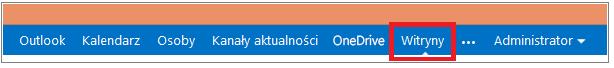 Pasek menu z wyróżnionym łączem Witryny