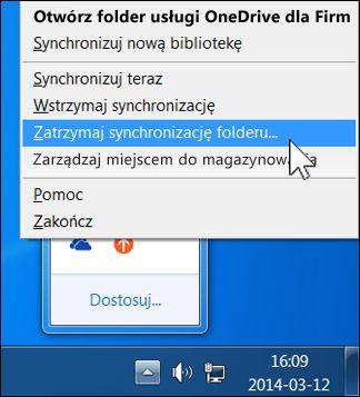 Zatrzymywanie synchronizacji usługi OneDrive dla Firm