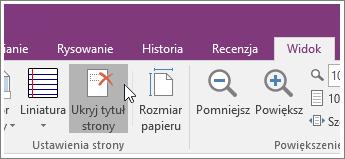 Zrzut ekranu przedstawiający przycisk Ukryj tytuł strony w programie OneNote 2016.