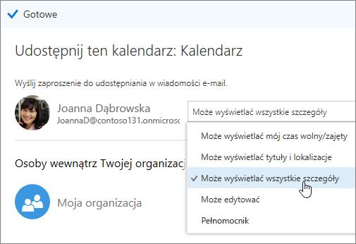 Zrzut ekranu przedstawiający okienko udostępniania kalendarza z wyświetlonymi opcjami dostępu