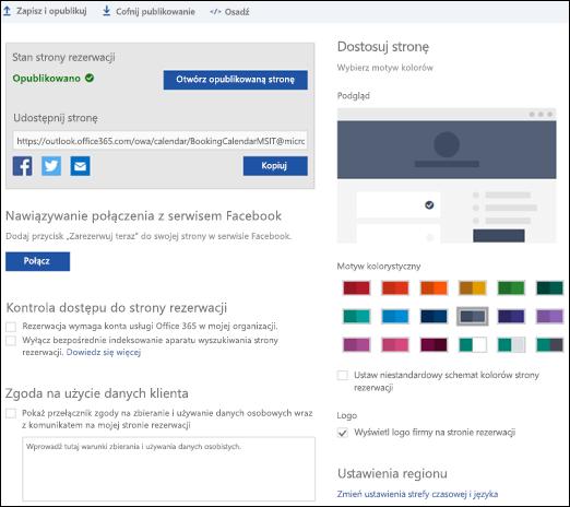 Strona rezerwacja z nową sekcją o nazwie Dostosowywanie strony.