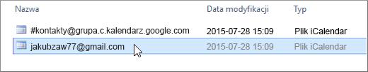 Wybieranie pliku do zaimportowania, którego nazwa kończy się na gmail.com.