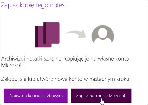Zapisywanie na koncie Microsoft