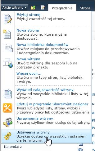 Ustawienia witryny w menu Akcje witryny