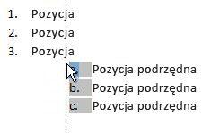 Kliknięcie elementu listy w celu wyróżnienia listy i przeciąganie jej w nowe miejsce