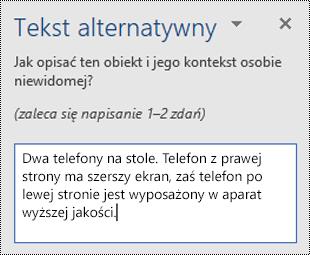 Okienko tekstu alternatywnego z przykładowym tekstem alternatywnym w programie Word dla systemu Windows.