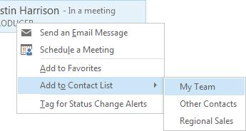 Zrzut ekranu przedstawiający zaznaczone pozycje Dodaj do listy kontaktów i Mój zespół
