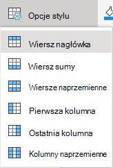 Menu Opcje stylu tabeli w aplikacji Word Online