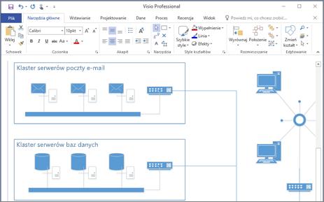 Zrzut ekranu przedstawiający diagram utworzony w programie Visio 2016.