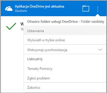 Więcej ustawień w centrum aktywności synchronizacji usługi OneDrive