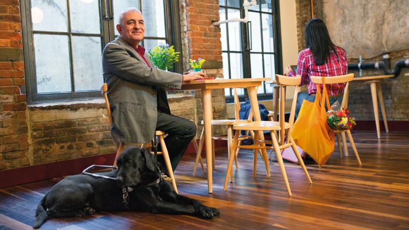 Fotografia mężczyzny z psem przewodnikiem. Linki do strony dotyczącej ułatwień dostępu w usłudze Office 365.