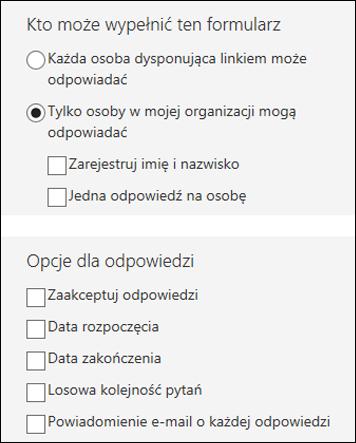 Ustawienia dotyczące formularzy.