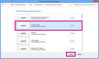 Dodawanie metody wprowadzania danych w systemie Windows 8