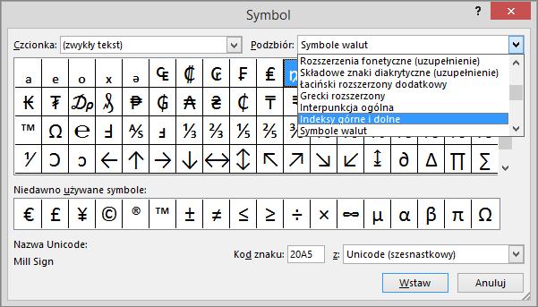Podzbiory indeksu dolnego i górnego w oknie dialogowym Symbol w programie PowerPoint