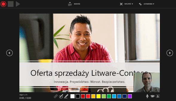 Okno rejestrowania prezentacji w programie PowerPoint 2016 z włączonym podglądem okna narracji wideo.