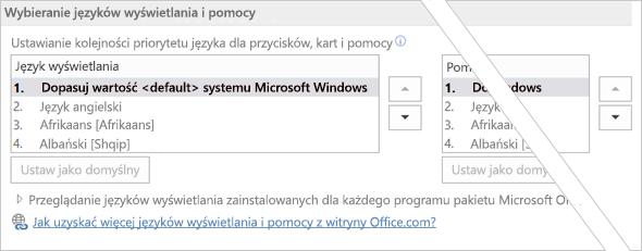 Office 2016 — ustawianie preferowanego języka