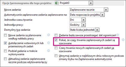 Okno dialogowe Opcje, karta Harmonogram, obszar Opcje harmonogramu dla tego projektu