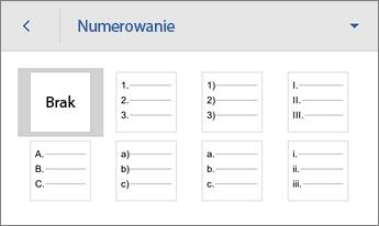 Polecenie Numerowanie z opcjami formatowania