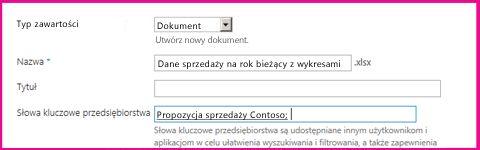 Użytkownicy mogą dodawać słowa kluczowe w oknie dialogowym właściwości dokumentu