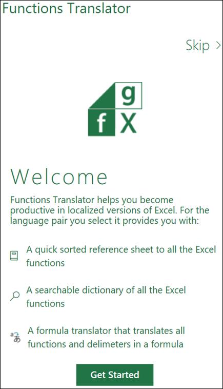 Okienko powitalne dodatku programu Excel Functions Translator