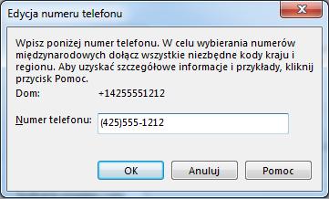 Przykład numeru telefonu w programie Lync przedstawiający międzynarodowy format wybierania numerów