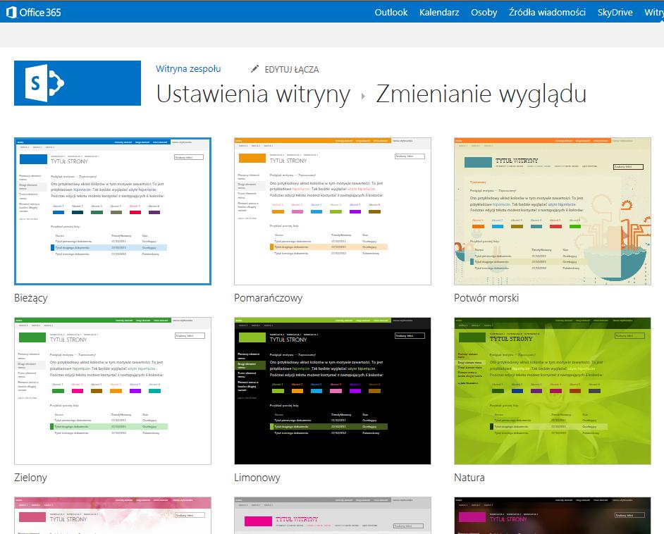 Wybieranie motywów wyglądu dostępnych w witrynach publikowania usługi SharePoint Online