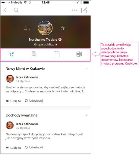 Widok konwersacji grupy w aplikacji dla urządzeń przenośnych grupy programu Outlook
