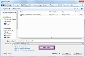 Okno dialogowe Zapisz jako dla kalendarza Outlook