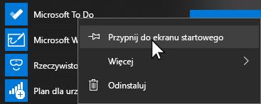 Menu kontekstowe funkcji Microsoft to go Otwórz i Przypnij do ekranu startowego