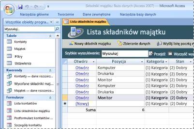 Używanie szablonu bazy danych Składniki majątku
