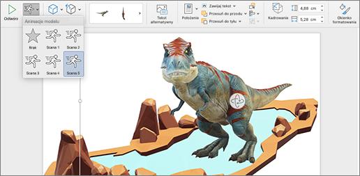 Model 3D przedstawiający opcje animacji
