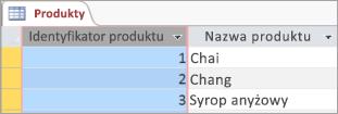 Wycinek ekranu przedstawiający tabelę Produkty
