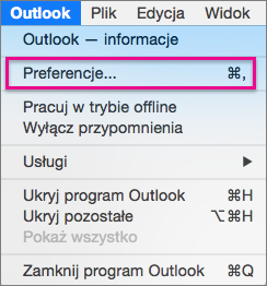 On the Outlook menu, click Preferences.