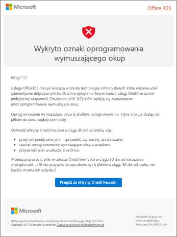 Zrzut ekranu: wykrywanie Ransomware wiadomość e-mail od firmy Microsoft