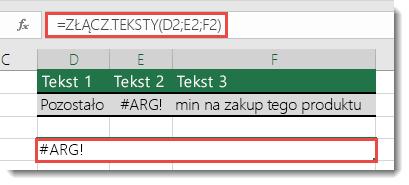 Błąd #ARG! w funkcji ZŁĄCZ.TEKSTY