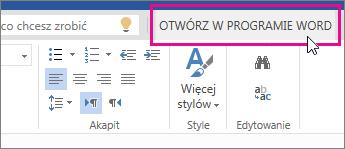 Otwieranie w programie Word z poziomu widoku do edycji aplikacji Word Online