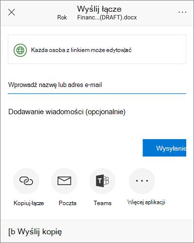 Zrzut ekranu przedstawiający okno dialogowe udostępnianie w systemie Android