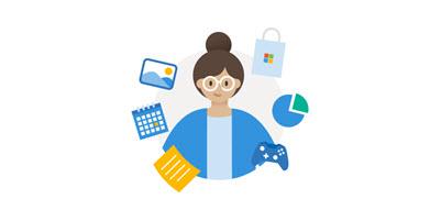 Ilustracja przedstawiająca kobietę otoczoną ikonami