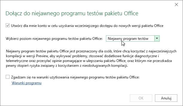 Okno dialogowe Dołącz do niejawnego programu testów pakietu Office z opcją poziomu Niejawny program testów