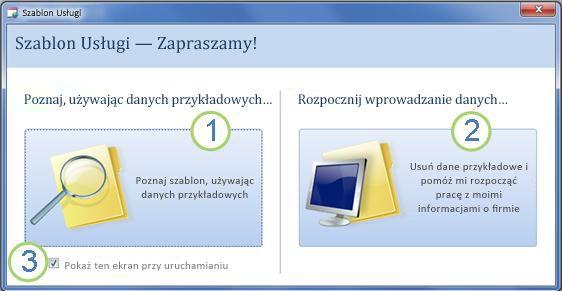 Formularz początkowy szablonu bazy danych sieci Web Usługi