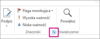 Kliknij strzałkę u dołu grupy Znaczniki.