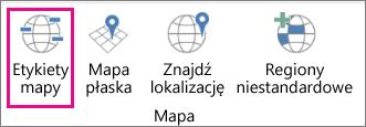 Opcja Etykiety mapy w dodatku Mapy 3-W