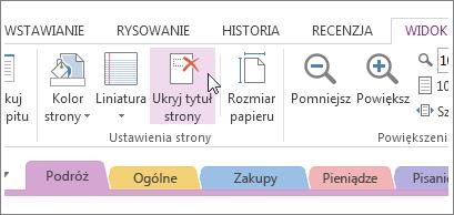 Przycisk Ukryj tytuł strony umożliwia wyświetlanie i ukrywanie tytułu strony.