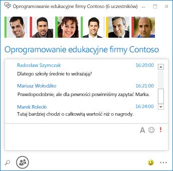 Zrzut ekranu: rozmowa trwała z 6 uczestnikami