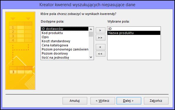 Wybierz pola, które mają być wyświetlane w danych wyjściowych zapytania w oknie dialogowym Kreator zapytań wyszukujących niepasujące dane
