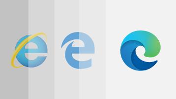 Ilustracja przedstawiająca program Internet Explorer, logo starszej wersji Microsoft Edge i logo nowej przeglądarki Microsoft Edge