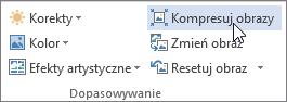 Przycisk Kompresuj obrazy na karcie Narzędzia obrazów > Formatowanie